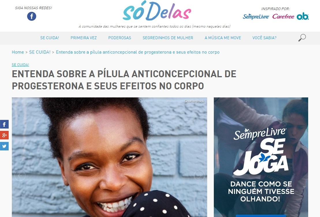 Só Delas – Site publica fala de médica sobre pílula anticoncepcional