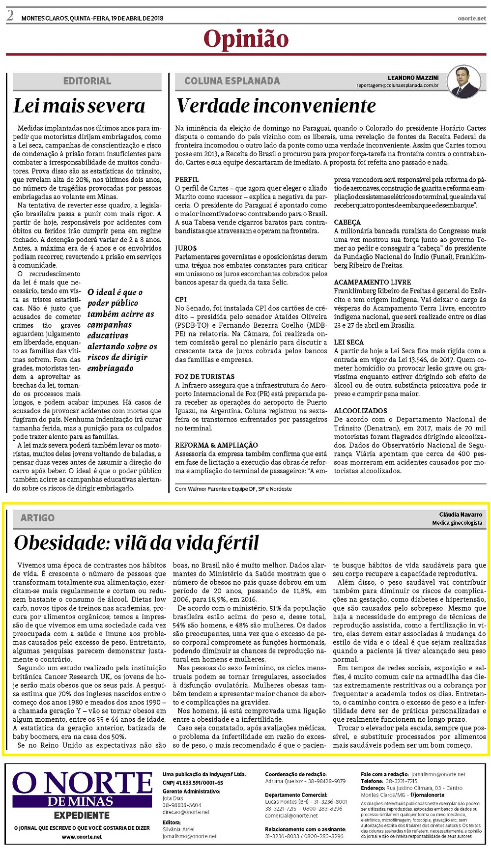 Jornal O Norte publica artigo de médica sobre infertilidade e sobrepeso