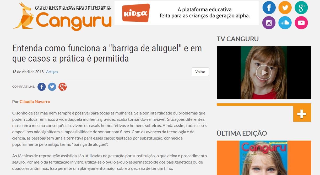"""Site Canguru – Especialista explica sobre """"gestação de substituição"""""""