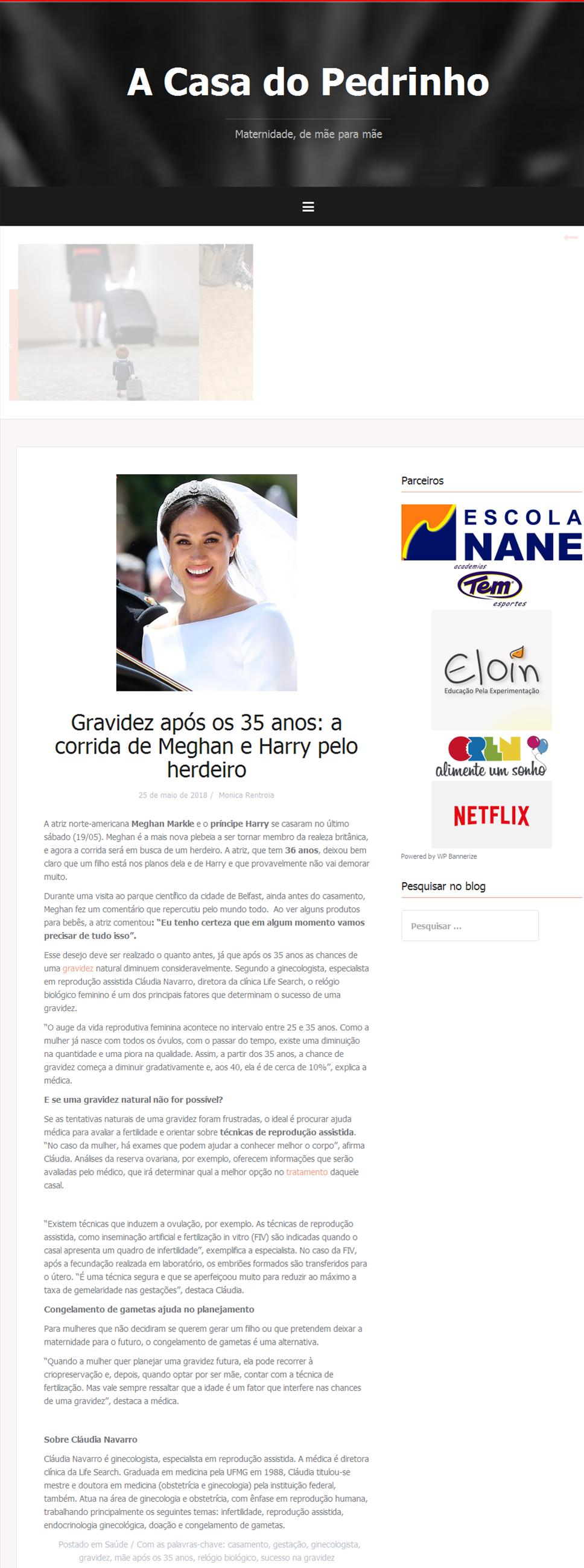 """Blog A Casa do Pedrinho – Matéria sobre """"Gravidez após os 35 anos"""""""