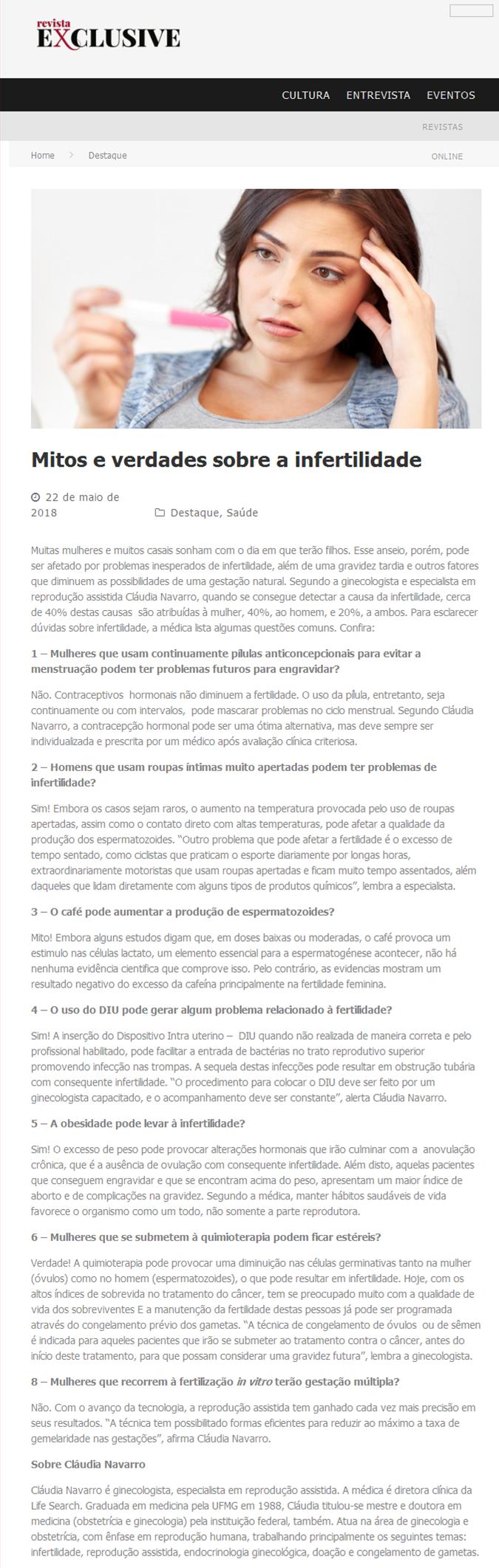 """Revista Exclusive – Matéria """"Mitos e Verdades sobre a Infertilidade"""""""