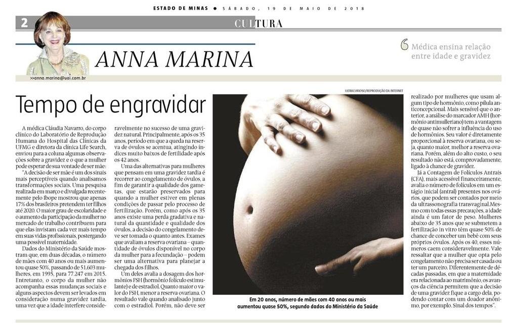 """Jornal Estado de Minas (impresso e online) – Artigo """"Tempo de Engravidar"""""""