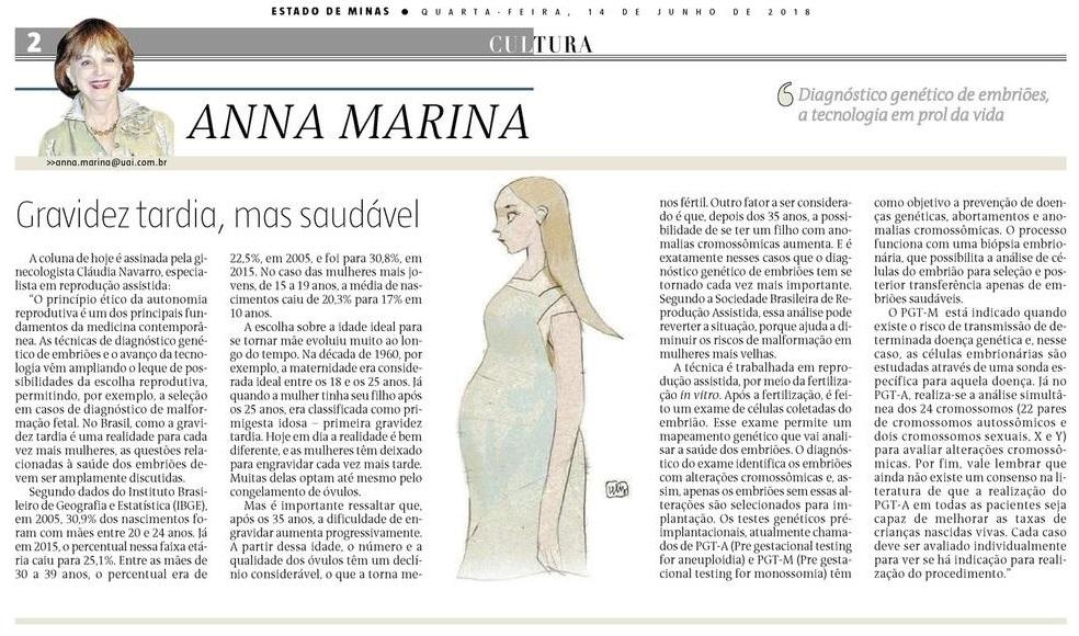 """Jornal """"Estado de Minas"""" (impresso e online) – Artigo """"Diagnóstico Genético de Embriões"""""""