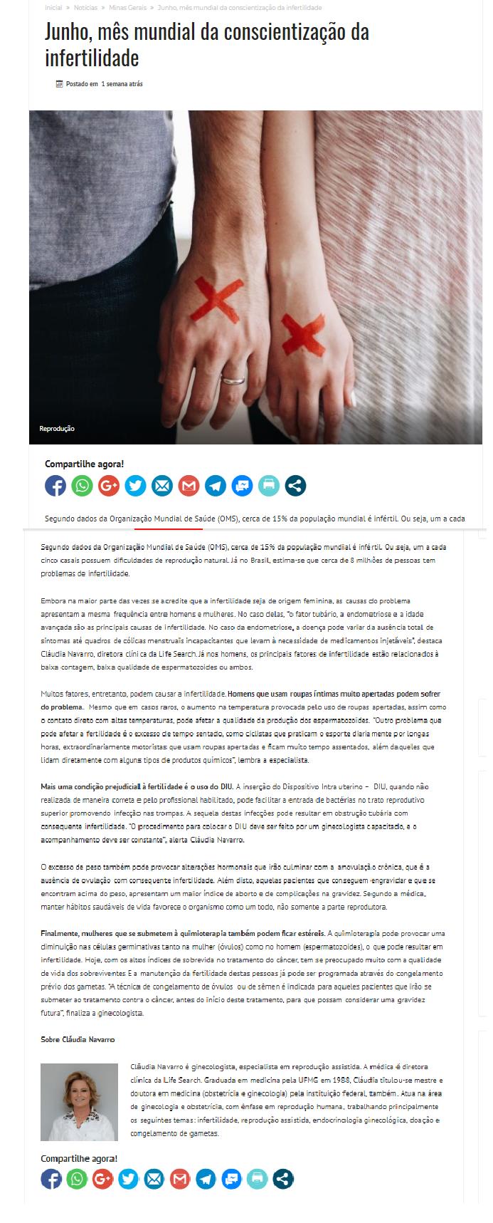 """Site """"Divulga Gerais"""" – Junho, mês mundial da conscientização da infertilidade"""