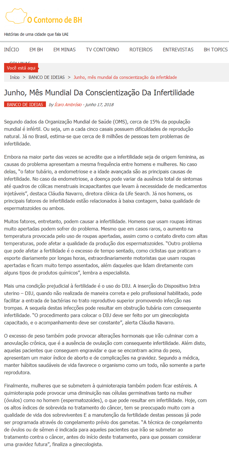"""Site """"O Contorno de BH"""" – Junho, mês mundial da conscientização da infertilidade"""