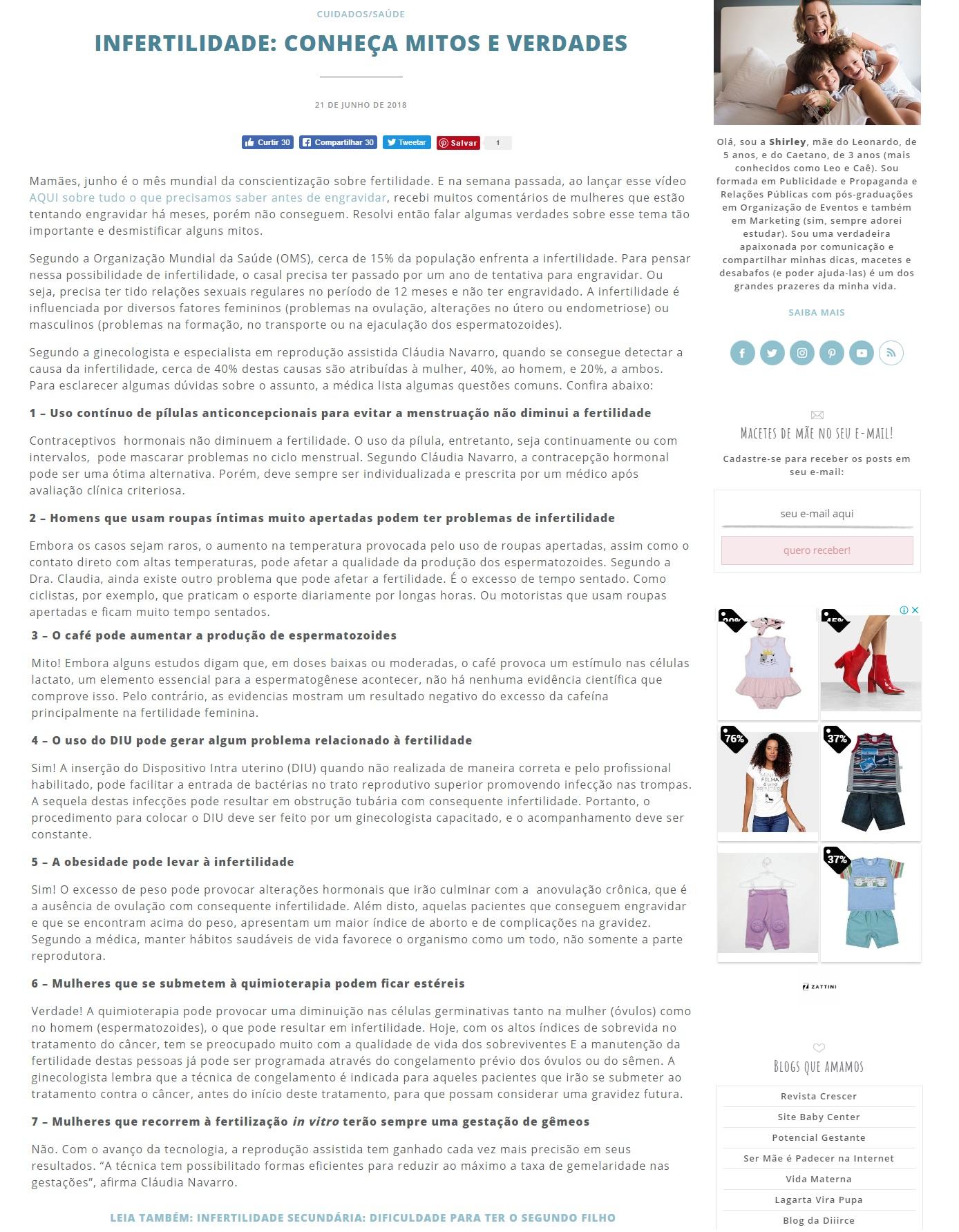 "Blog ""Macetes de Mãe"" – Mitos e Verdades sobre a Infertilidade"