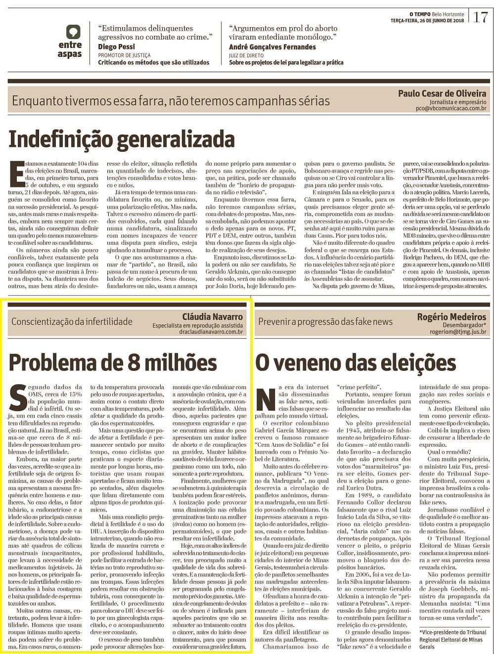 """Jornal O Tempo (impresso) – Artigo """"Conscientização da Infertilidade"""""""