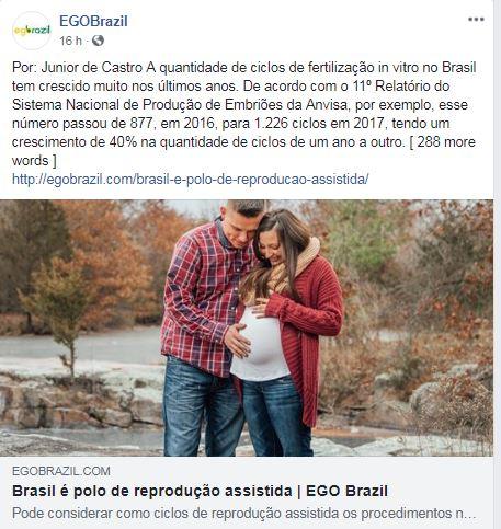 Ego Brazil (site e facebook) – Brasil é Polo de Reprodução Assistida