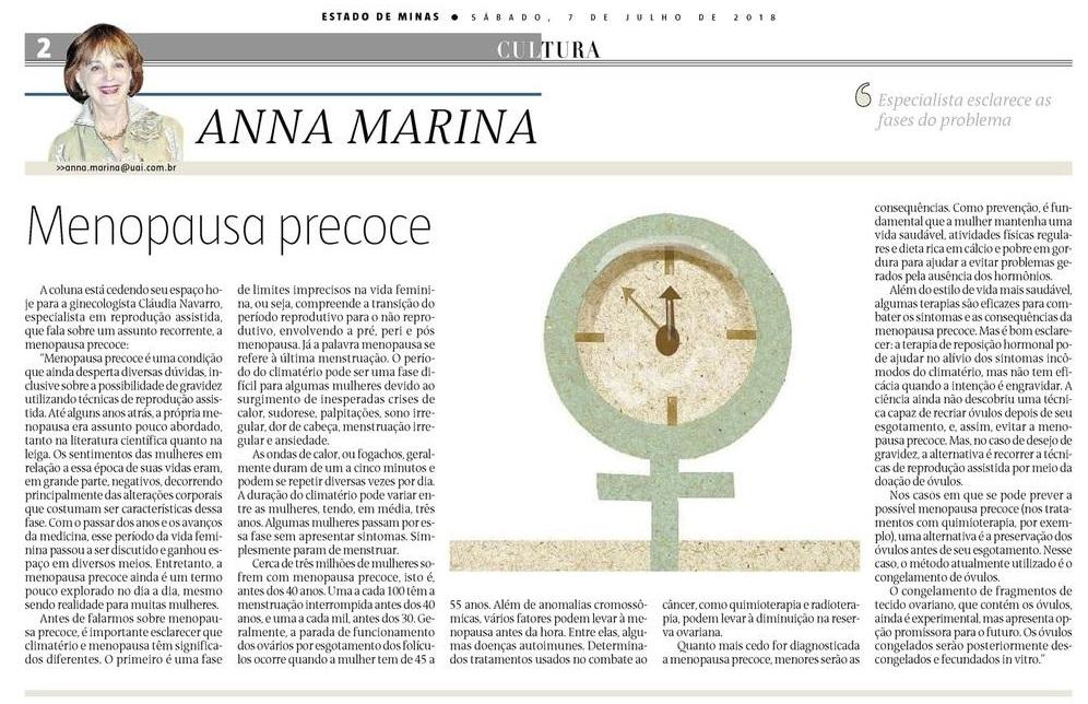 """Jornal """"Estado de Minas"""" (impresso e Online) – Artigo """"Menopausa Precoce"""""""