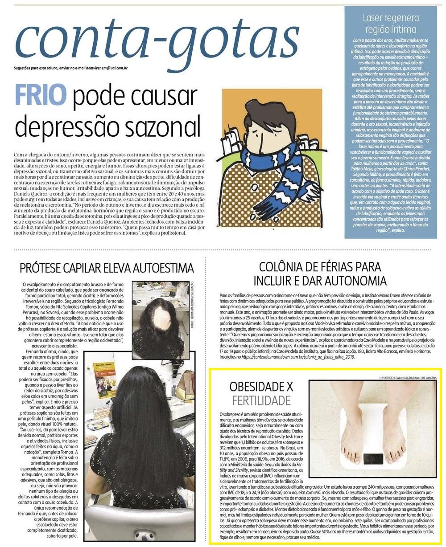 """Jornal """"Estado de Minas"""" (impresso e online) – Obesidade X Infertilidade"""