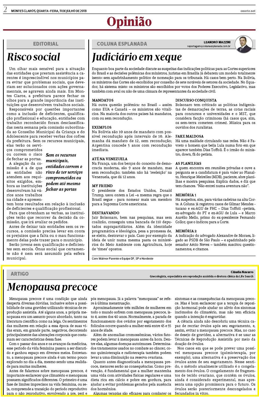 """Jornal """"O Norte"""" (impresso e online) – Artigo """"Menopausa Precoce"""""""