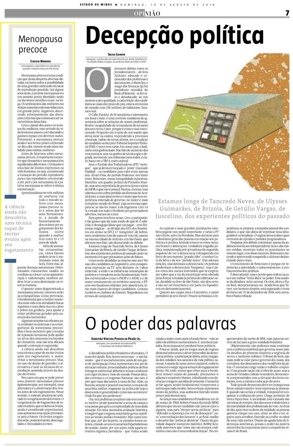 """Jornal Estado de Minas – Caderno """"Opinião"""" (impresso e site) – Artigo – Menopausa precoce: entenda o que acontece com o corpo"""