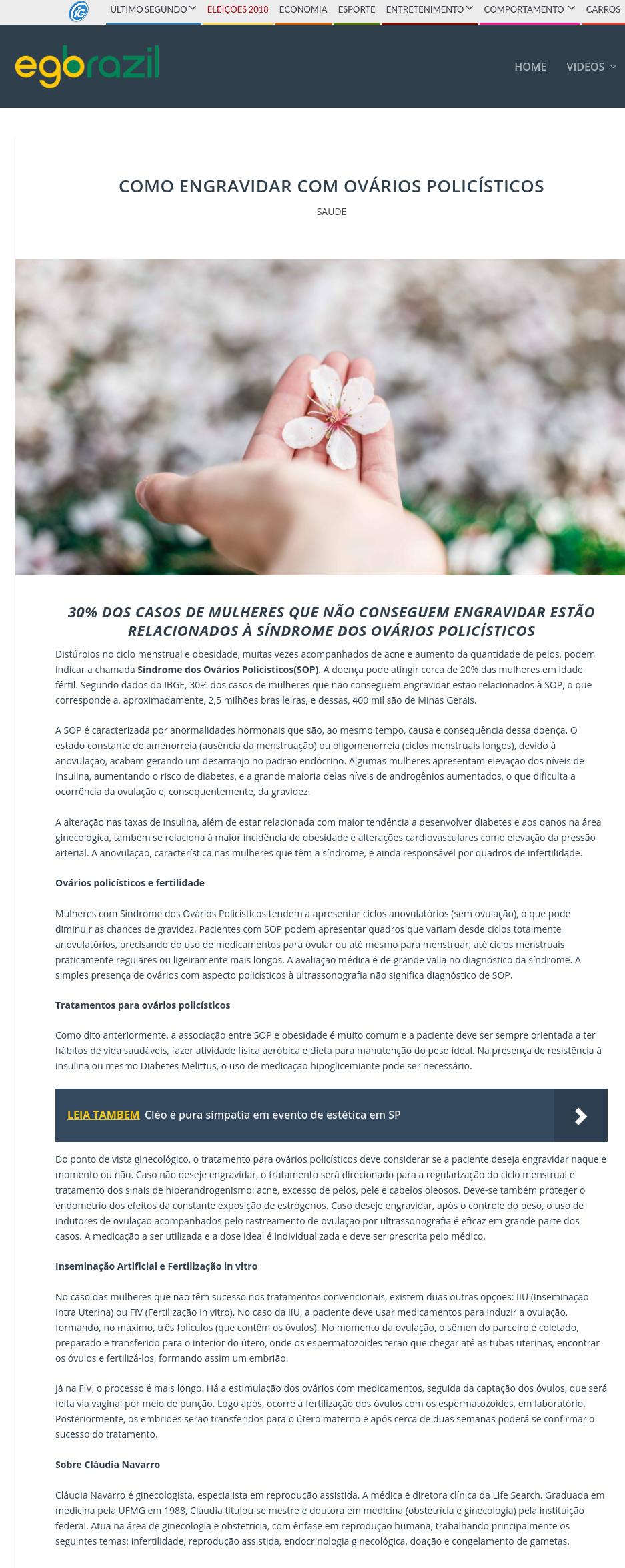 Ego Brazil (site e facebook) – Como engravidar com ovários policísticos