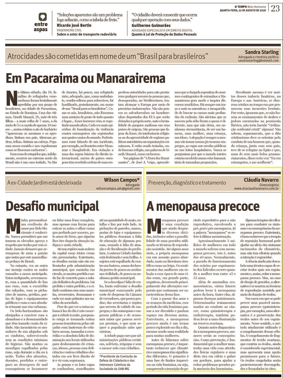 """Jornal O Tempo – Caderno """"Opinião"""" (impresso) – Artigo – Menopausa precoce: entenda o que acontece com o corpo"""