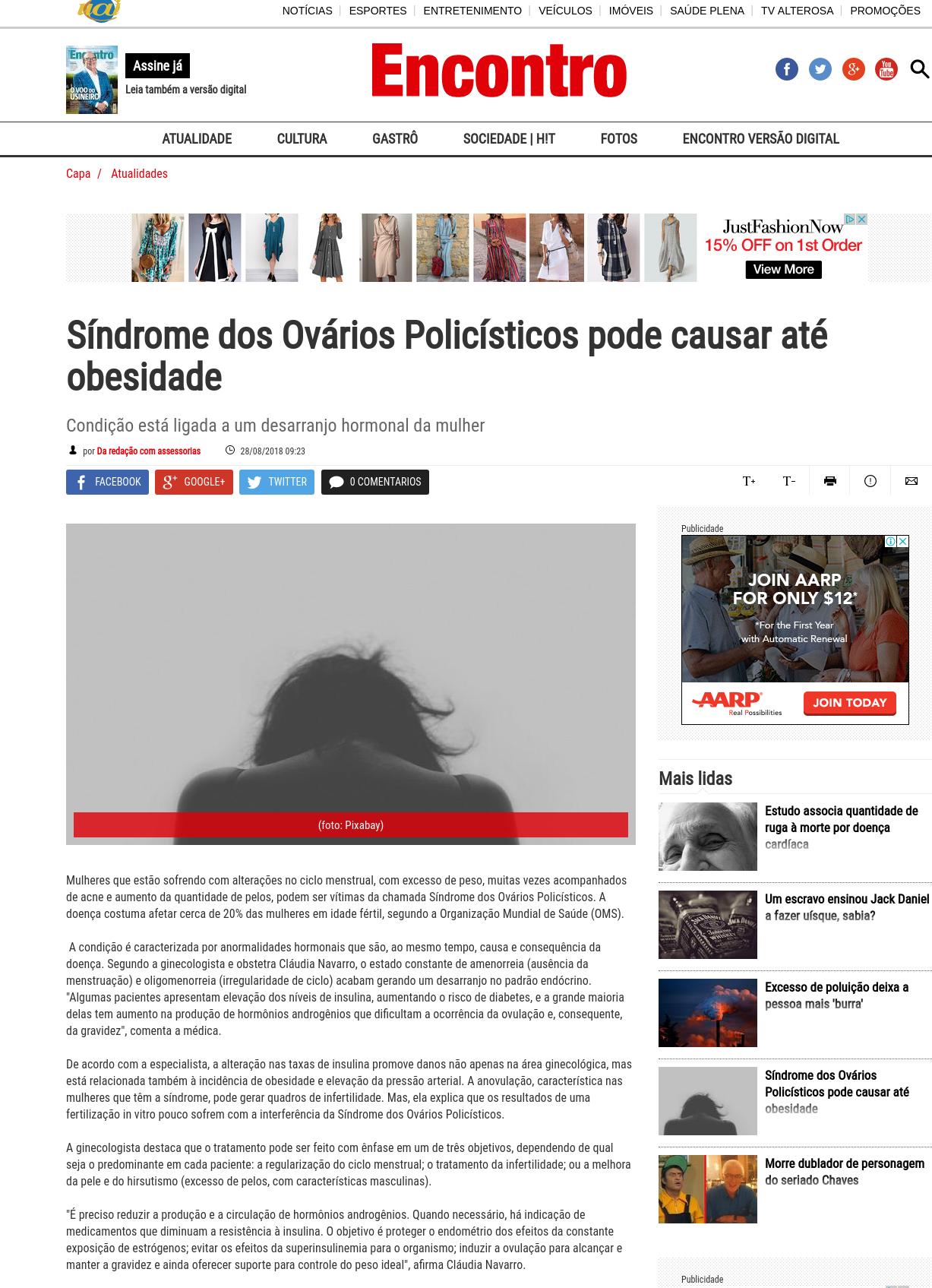Revista Encontro (site e facebook) – A Síndrome dos Ovários Policísticos atinge 20% das mulheres em idade fértil