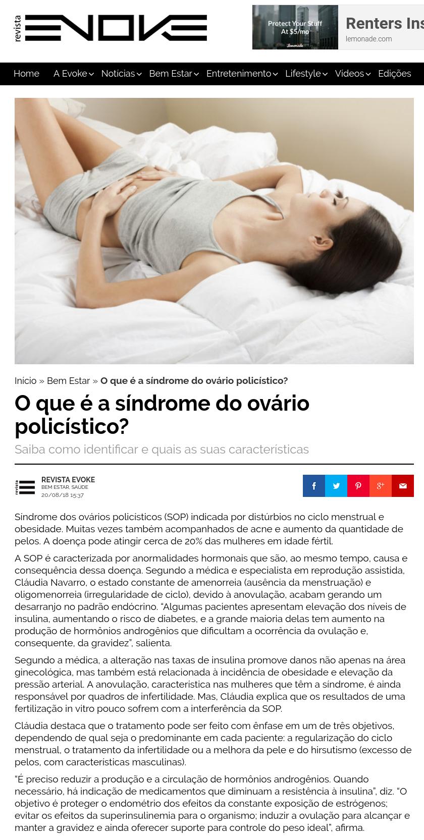 Revista Evoke (site e instagram) – Como engravidar com ovários policísticos