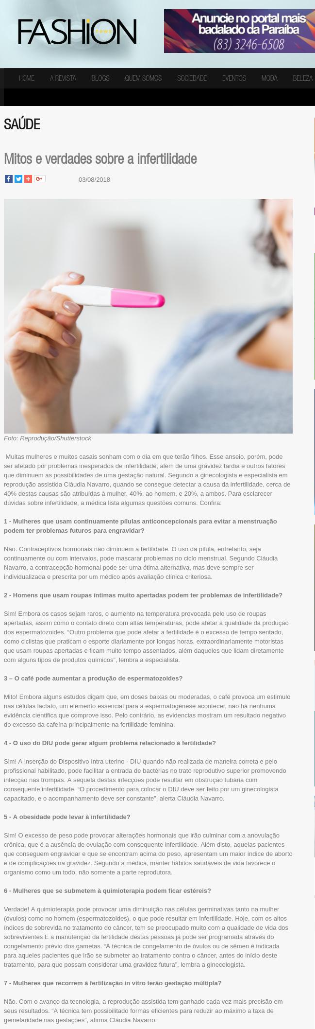 Revista Fashion News (site) – Mitos e verdades sobre a infertilidade