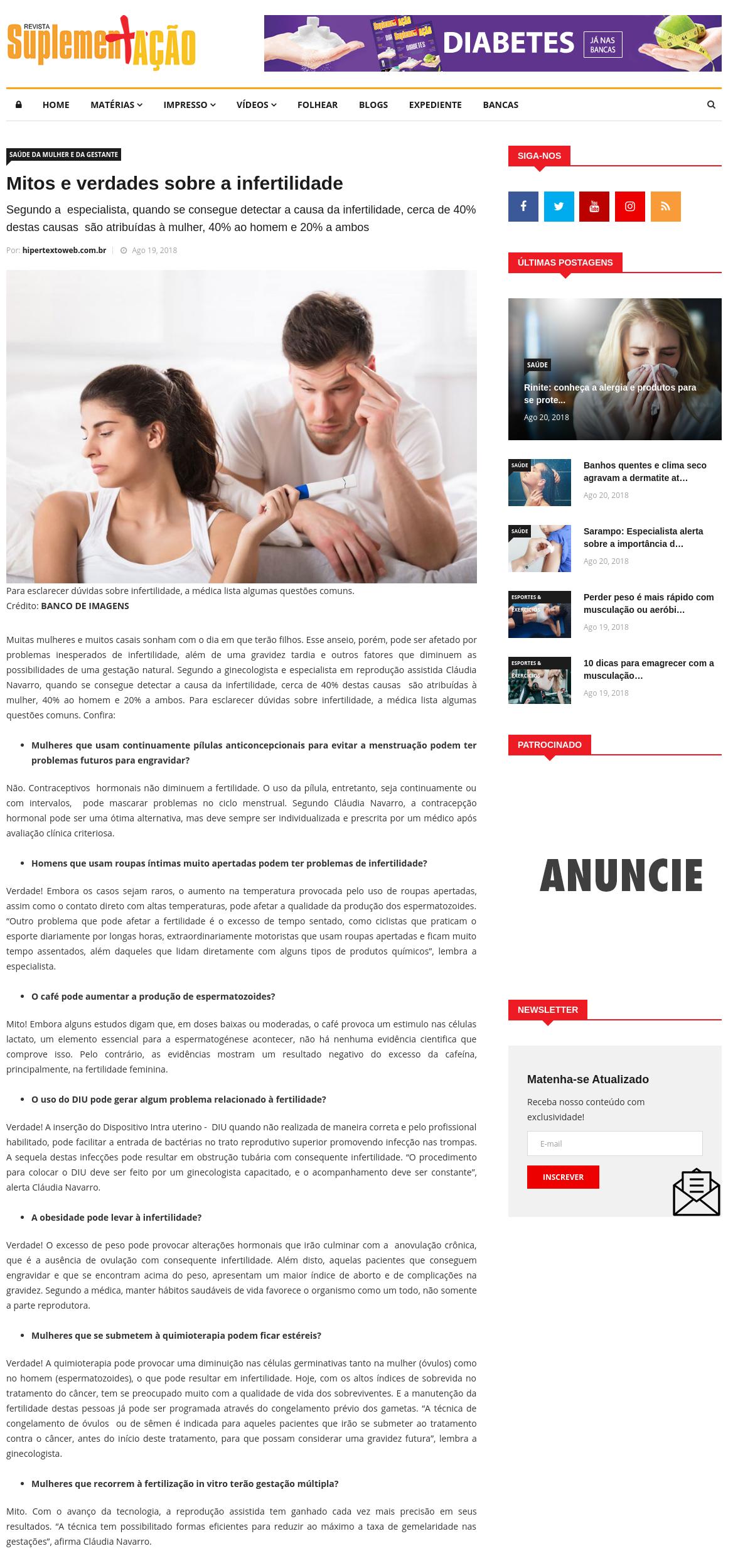 Revista SuplementAção (site) – Mitos e verdades sobre a infertilidade