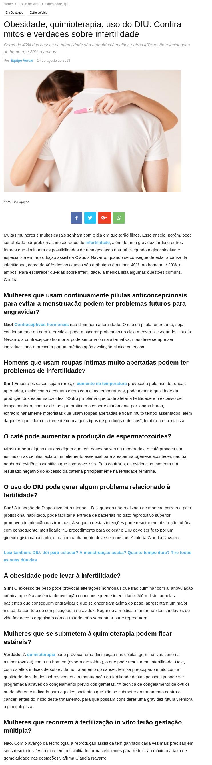 Revista Versar (site e facebook) – Obesidade, quimioterapia, uso do DIU: Confira mitos e verdades sobre infertilidade