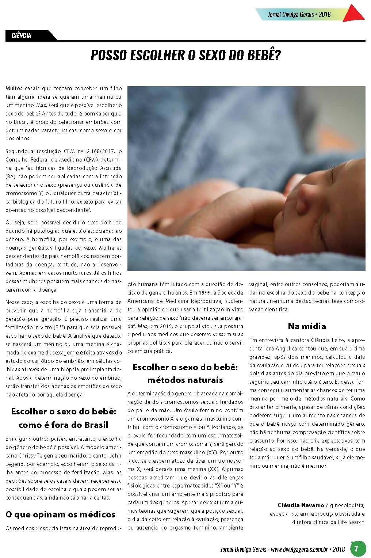 Jornal Divulga Gerais (impresso e site) – Posso escolher o sexo do bebê?