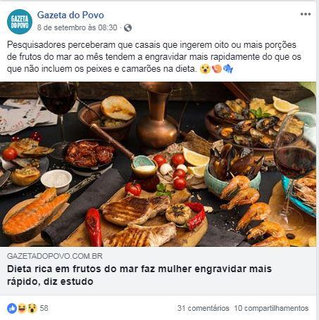 Jornal Gazeta do Povo (site e facebook) – Dieta rica em frutos do mar faz mulher engravidar mais rápido, diz estudo