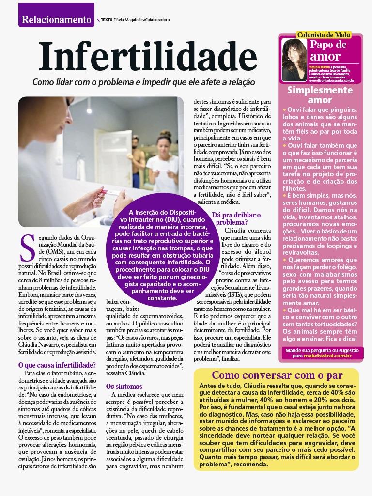 Revista Malu (impresso) – Infertilidade: Como lidar com o problema e impedir que ele afete a relação