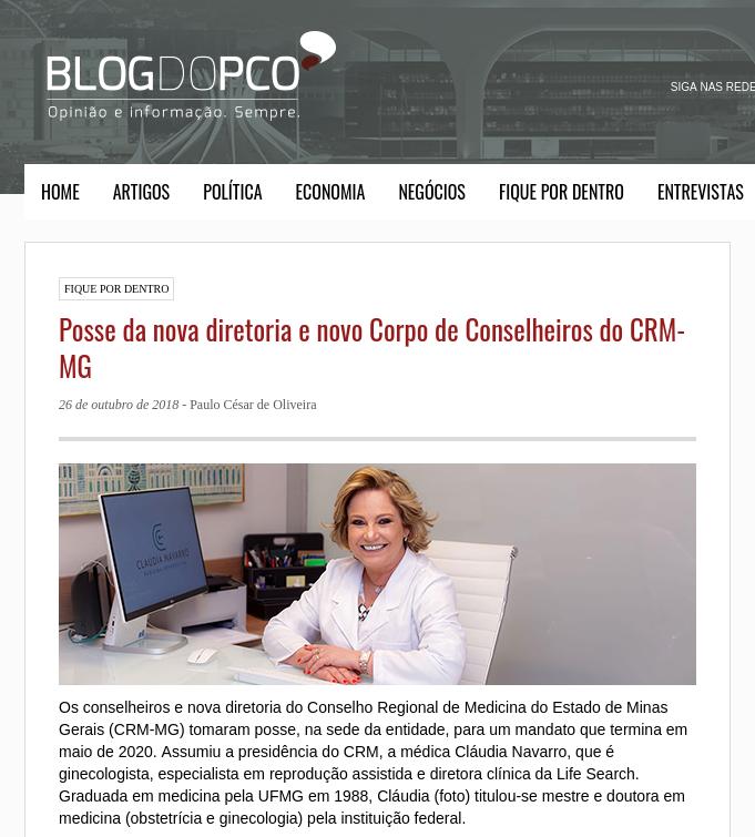 Blog do PCO (site) – Posse da nova diretoria e novo Corpo de Conselheiros do CRM-MG