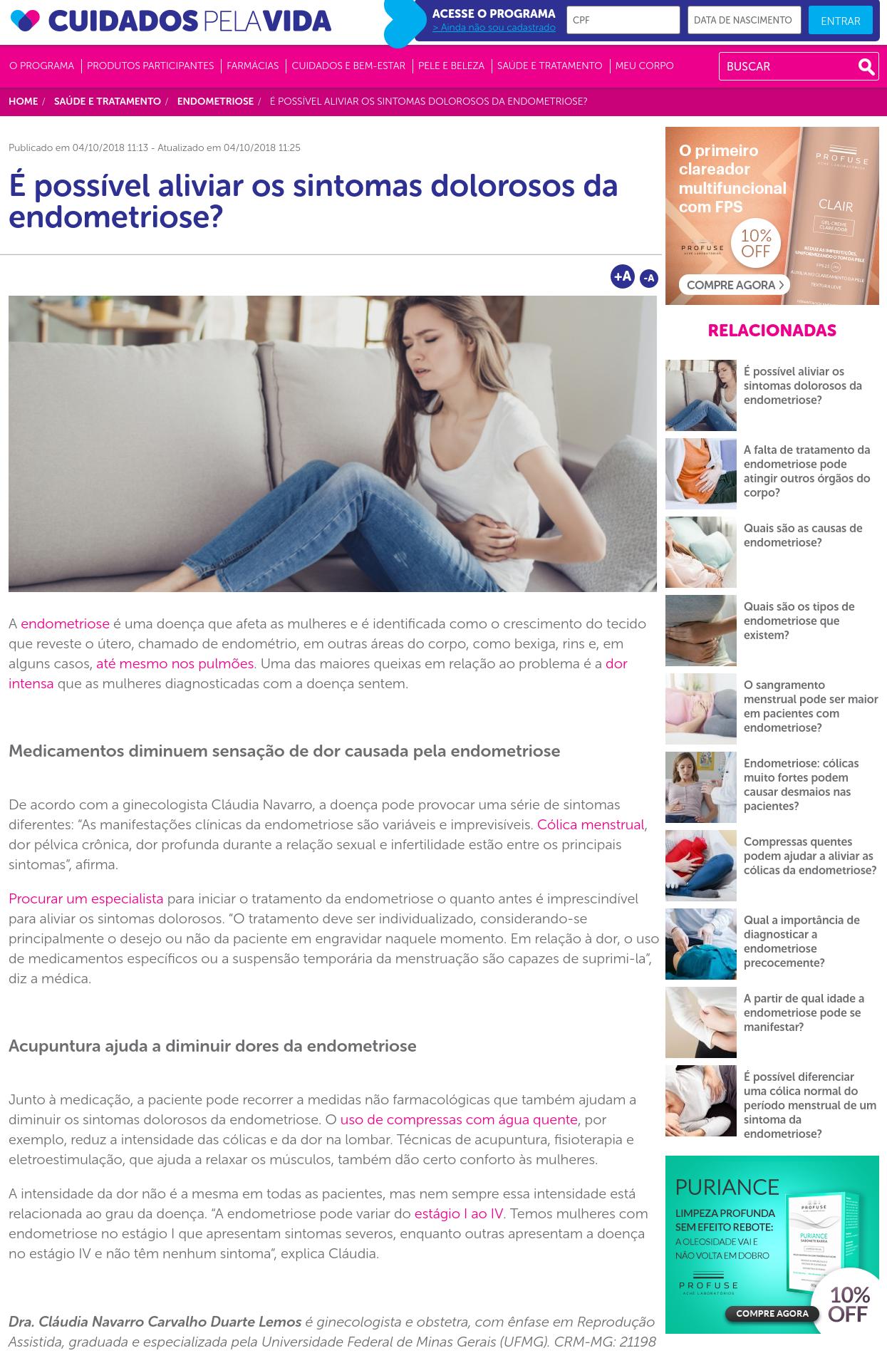 Cuidados Pela Vida (site) – É possível aliviar os sintomas dolorosos da endometriose?