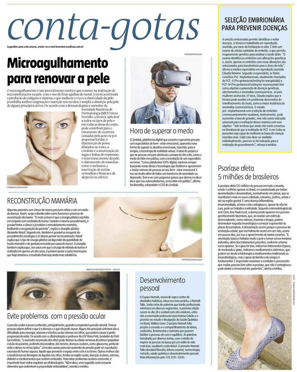 Jornal Estado de Minas (site e impresso) – Seleção embrionária para prevenir doenças