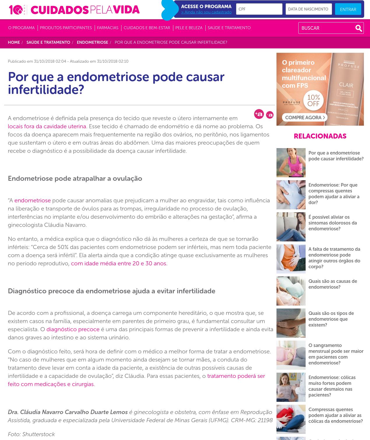 Cuidados Pela Vida – Por que a endometriose pode causar infertilidade?