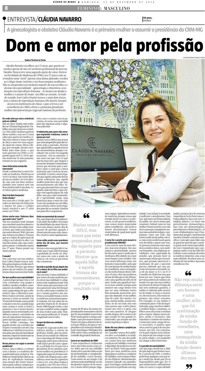 Jornal Estado de Minas (impresso e site) – Dom e amor pela profissão
