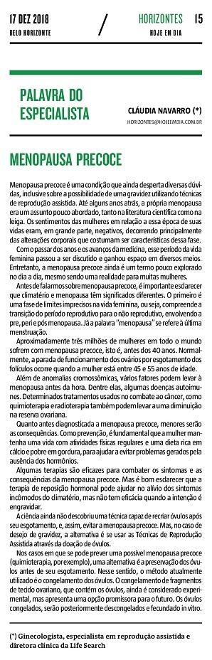 """Jornal """"Hoje em Dia"""" (impresso e online) – Artigo """"Menopausa Precoce"""""""