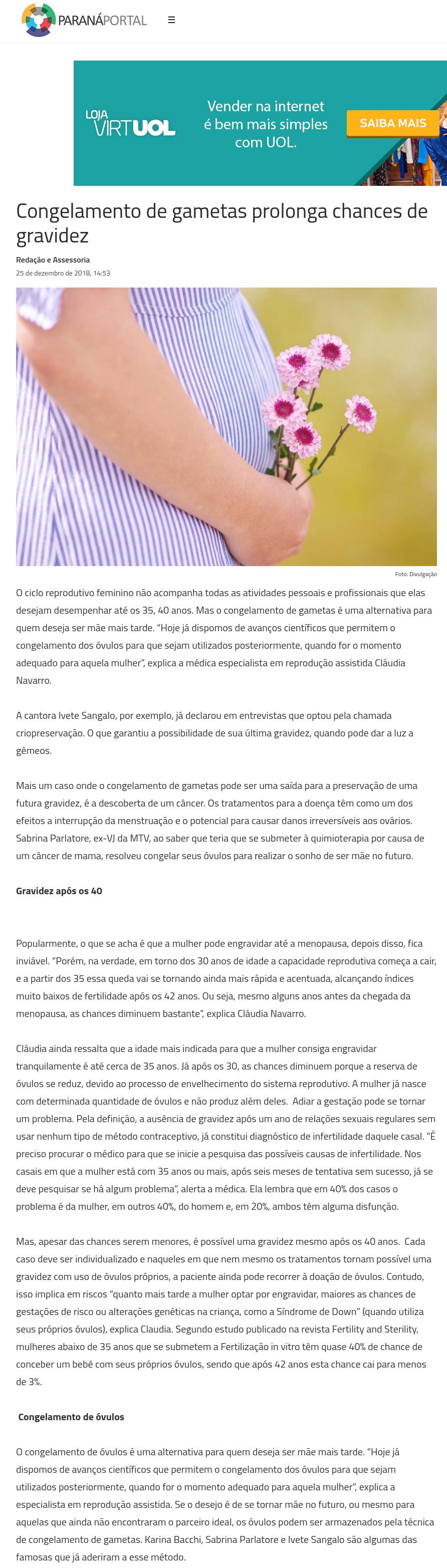Paraná Portal – Congelamento de gametas prolonga chances de gravidez
