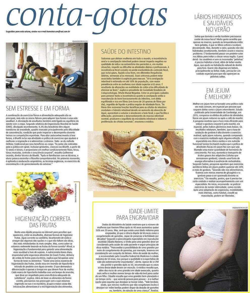 Jornal Estado de Minas (impresso e online) – Existe idade limite para engravidar?