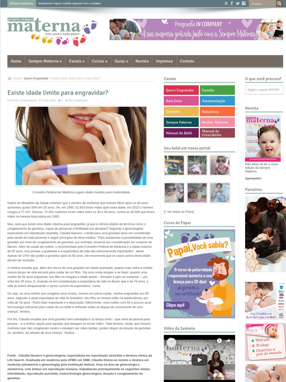 Revista Sempre Materna – Existe idade limite para engravidar?