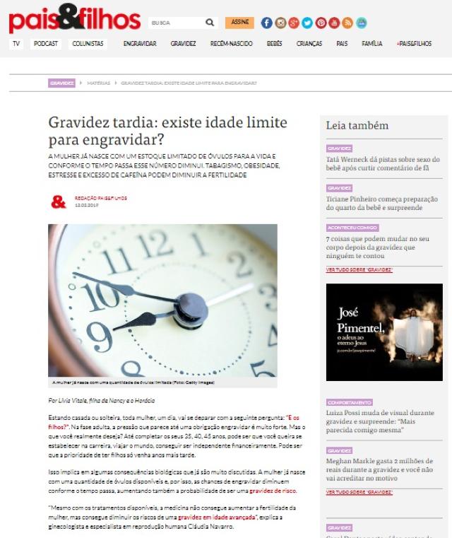 Site Revista Pais & Filhos – Gravidez tardia: existe idade limite para engravidar?
