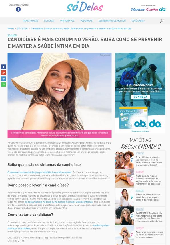 Portal Só Delas – Candidíase é mais comum no verão. Saiba como se prevenir e manter a saúde íntima em dia