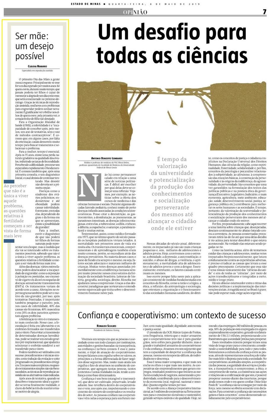 Jornal Estado de Minas – ARTIGO Ser mãe: um desejo possível