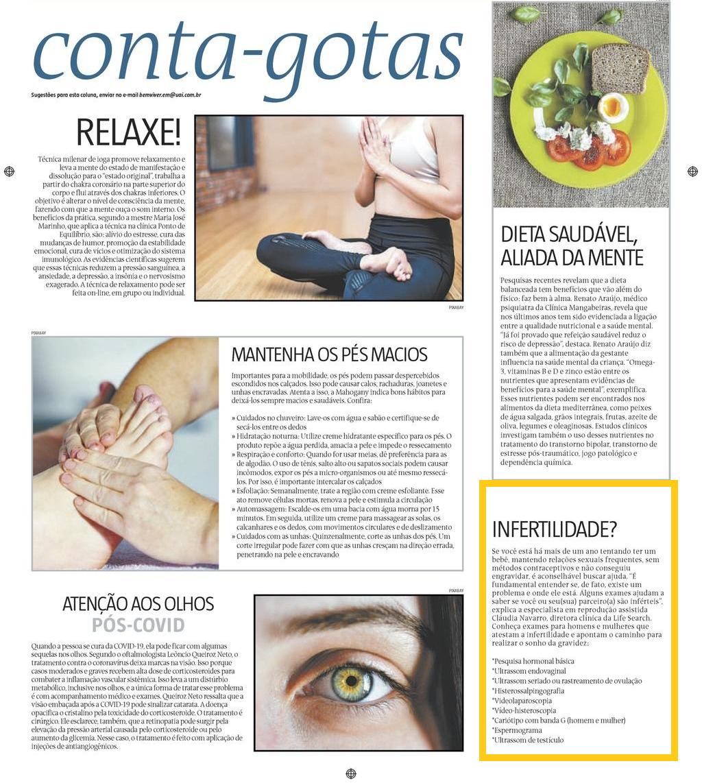 Contribuição para a Coluna Conta-Gotas, do Estado de Minas, sobre exames para detectar infertilidade